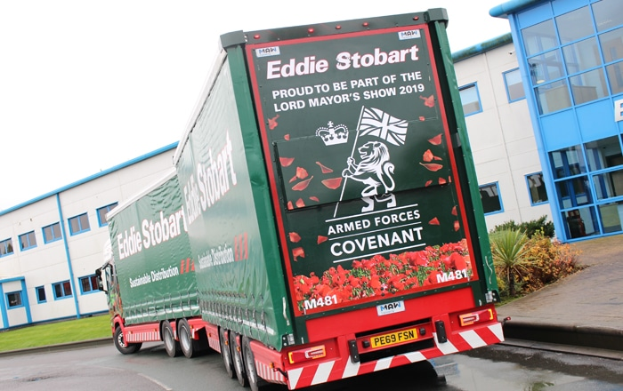 Commemorative Eddie Stobart Truck Celebrates Ex-Services Staff And Reservists At The Lord Mayor's Show.